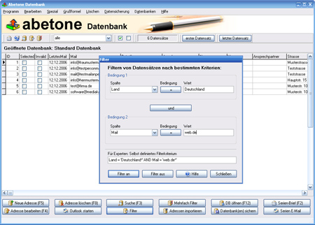 Screenshot vom Programm: Abetone-Datenbank