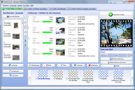 Produce very easy and fast slideshows and include your favourite songs from CD or MP3. Create a screensaver or a cd rom slideshow and give it to your friends. They don´t need to have the program installed for watching it.