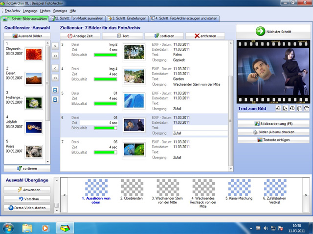 Screenshot vom Programm: Fotoarchiv XL