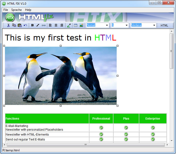 HTML fix Screenshot