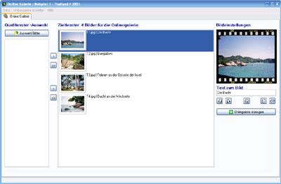 Screenshot vom Programm: OnlineGalerie Pro