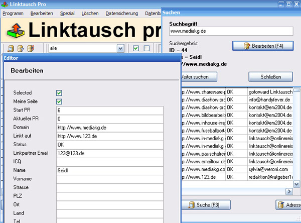 Linktausch pro Screen shot