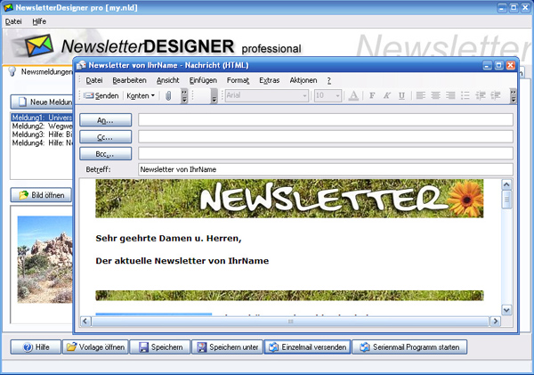 NewsletterDesigner pro Screen shot
